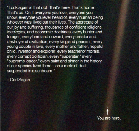 On a mote of dust suspended in a sun beam- Carl Sagan