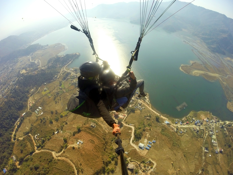 Paragliding over Lake Phewa